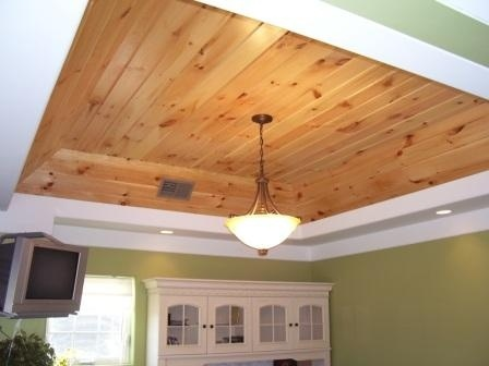 Knotty pine wood in my tray ceiling for Wood trim ceiling ideas