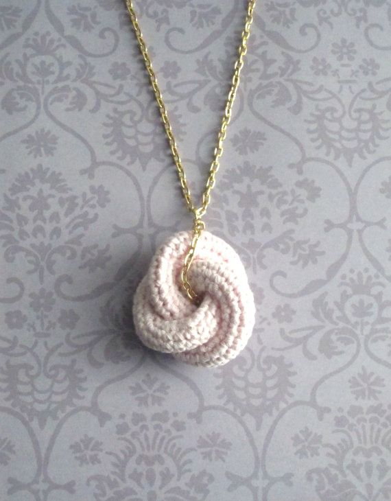 Eternal love knot. I usually don't go for crocheted jewelry, but I actually like this one!