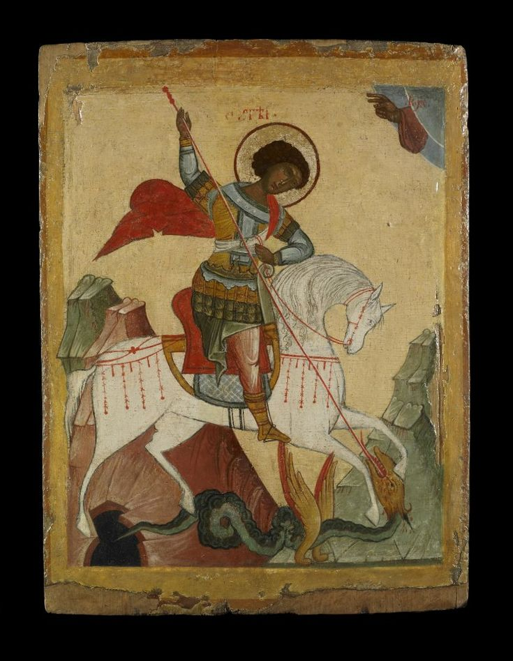 Icon painted in egg tempera, with gilding, on wood prepared with linen and…