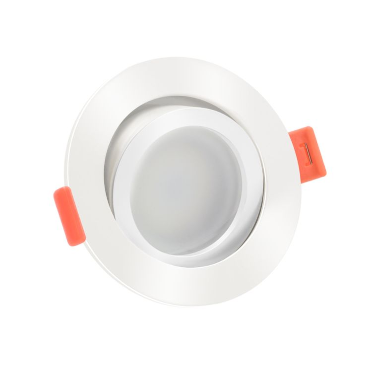 LED-Einbaustrahler 230V GU10 DIMMBAR 6W statt 50W weißes Aluminium 120° Abstrahlung 90 Ra / Cri rund