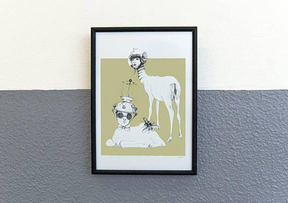 pentekening Space Deer print op fotopapier kunst voor aan de