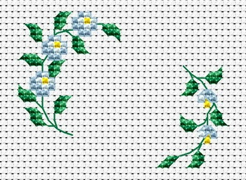 Two branches with blue flowers