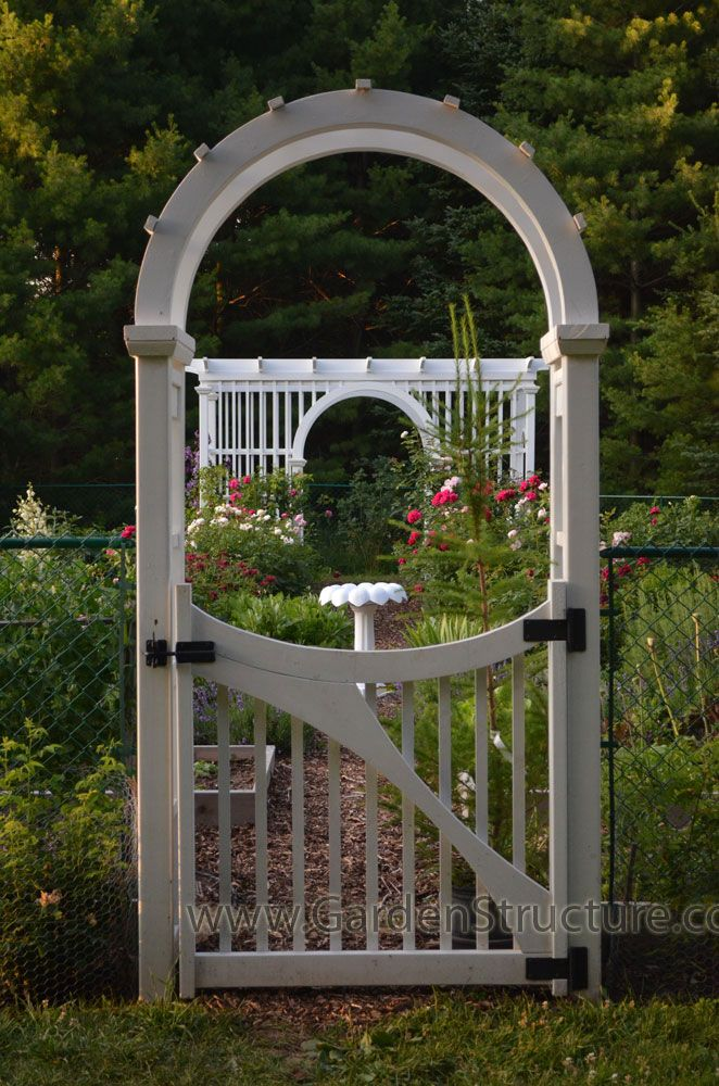 arched arbour with custom gate arbor
