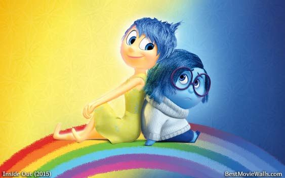 A lovely wallpaper hd from Inside Out with characters Joy and Sadness :]