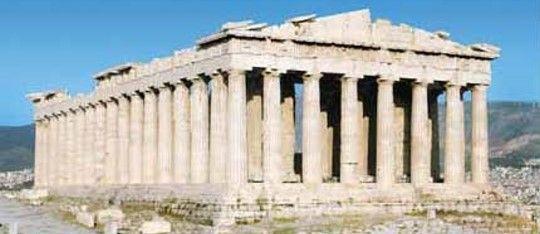 Partenone, V sec., marmo pentelico. Tempio dorico, periptero, octastilo, architetti Callicrate e Ictino