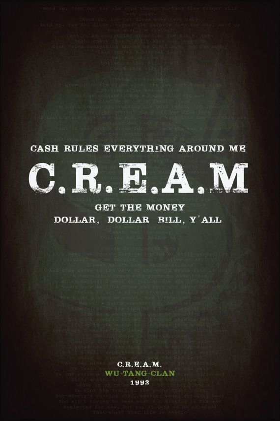 Wu-Tang-Clan C.R.E.A.M. Quote Poster