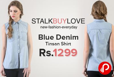 StalkBuyLove is offering Blue Denim Tinsan Shirt Just Rs.1299. Women's #fashion #shirt made with #cotton denim, Sleeveless, Button fastening placket at front, Pockets at front.  http://www.paisebachaoindia.com/blue-denim-tinsan-shirt-just-rs-1299-stalkbuylove/