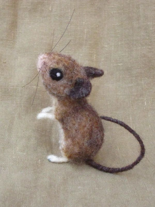 Needle felted field mouse poseable felted animal by Ainigmati