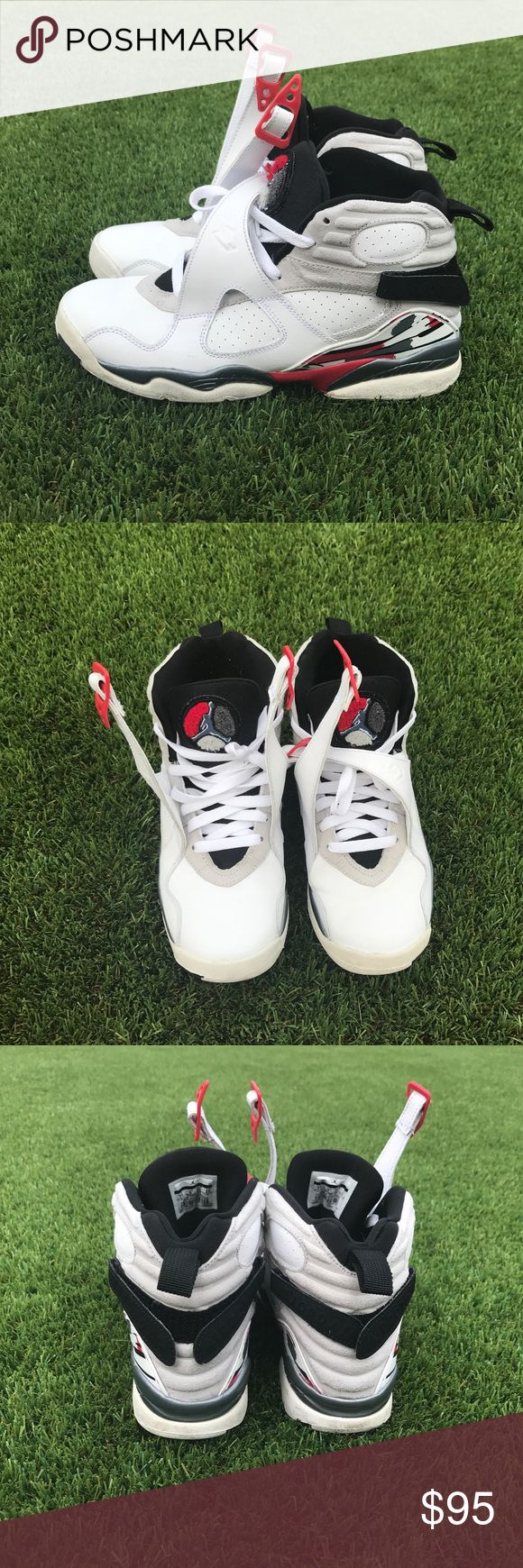 Retro 8 Bugs Bunny Air Jordan's PreOwned White, Red, Black & Grey Retro 8 Bugs Bunny Air Jordan's. These are youth size 7 but can fit women size 8.5 or 9. Good condition. Comes with box. Please ask questions 🌸🌸 Air Jordan Shoes Sneakers