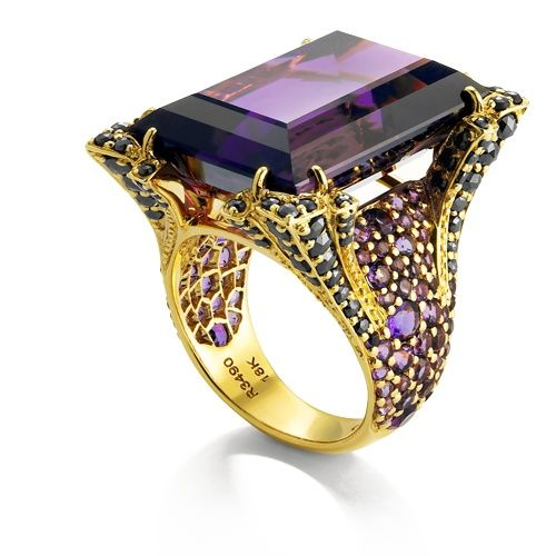 Ring | John Hardy. 18k gold, amethysts and black diamonds