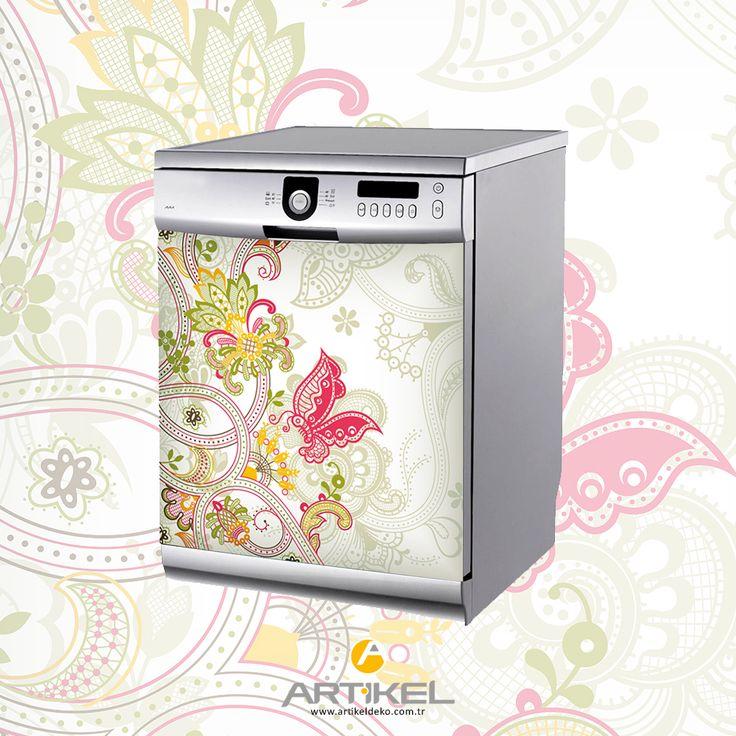 Bulaşık makinenizi çiçek motifleri ile güzelleştiriyoruz.. #beyazeşyasticker #art #dekorasyonfikirleri