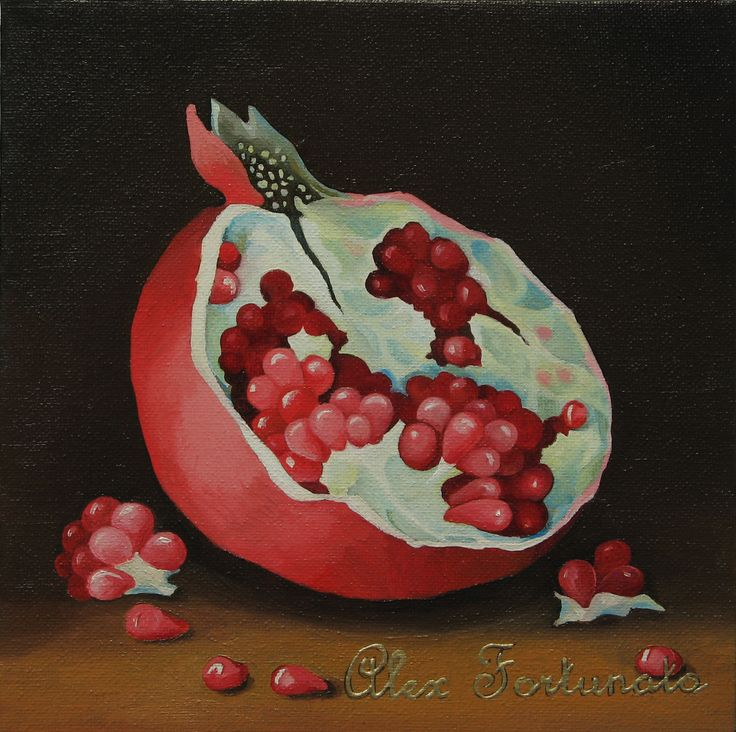 Pomegranate (№1), oil painting, size 20x20cm. Oil Paintings by Alexey Volgutskov.