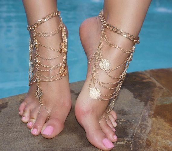 Sandales de mariage vacances or pièce de monnaie Barefoot sandales mariage mariée bohème Gypsy sandales Bohème Boho Grecian Bollywood plage chaîne de pied