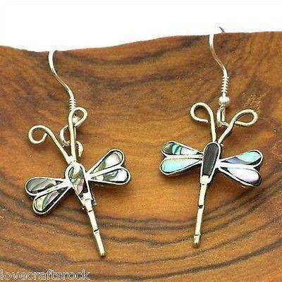 Handmade-Silver-Earrings-Dangle-Fashion-Jewelry-Alpaca-Abalone-Dragonfly-Mexican