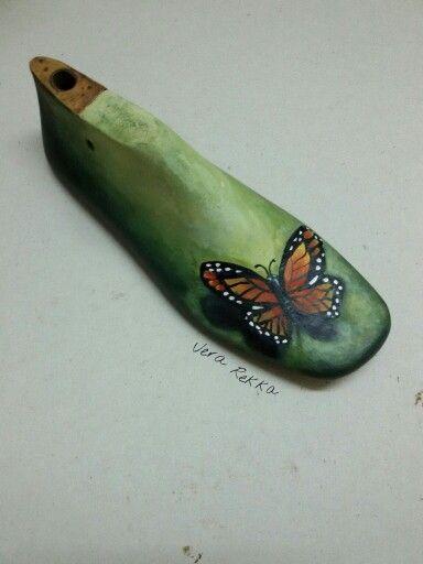 Ξύλινο παλιό καλαποδι ζωγραφική με ακρυλικά χρώματα