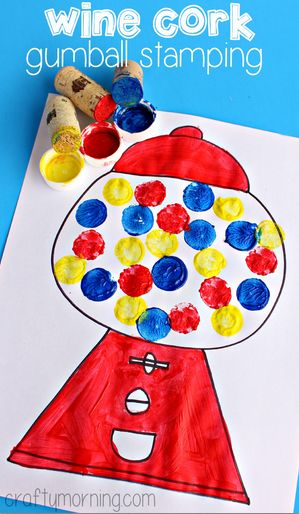 Gumball Machine Craft for Kids Using Wine Corks - Could use for a math or color matching activity! (+ Free Printable)