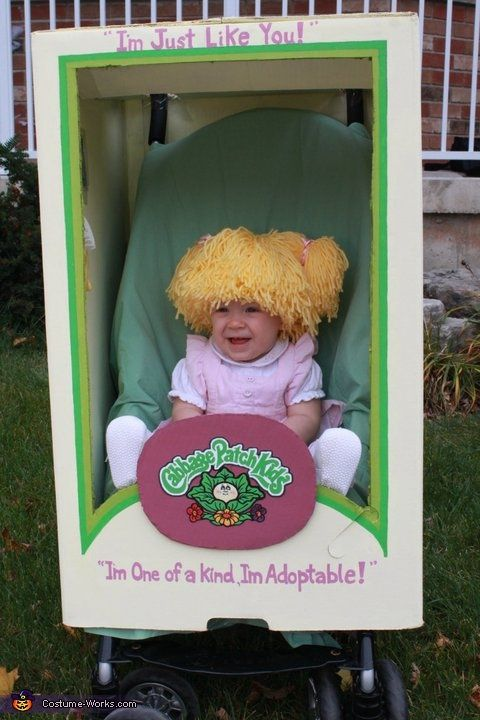 DIY Cabbage Patch Doll halloween costume - box over a stroller how clever and cute haha: Holiday, Halloween Costumes, Cabbages, Costume Ideas, Kid Costumes, Baby, Cabbage Patch Kids, Homemade Costume