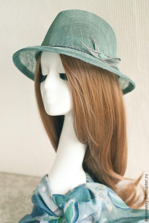 """Купить """"Нефритовая волна"""" - тёмно-бирюзовый, Соломка, соломенная шляпка, федора, жнеская шляпа"""