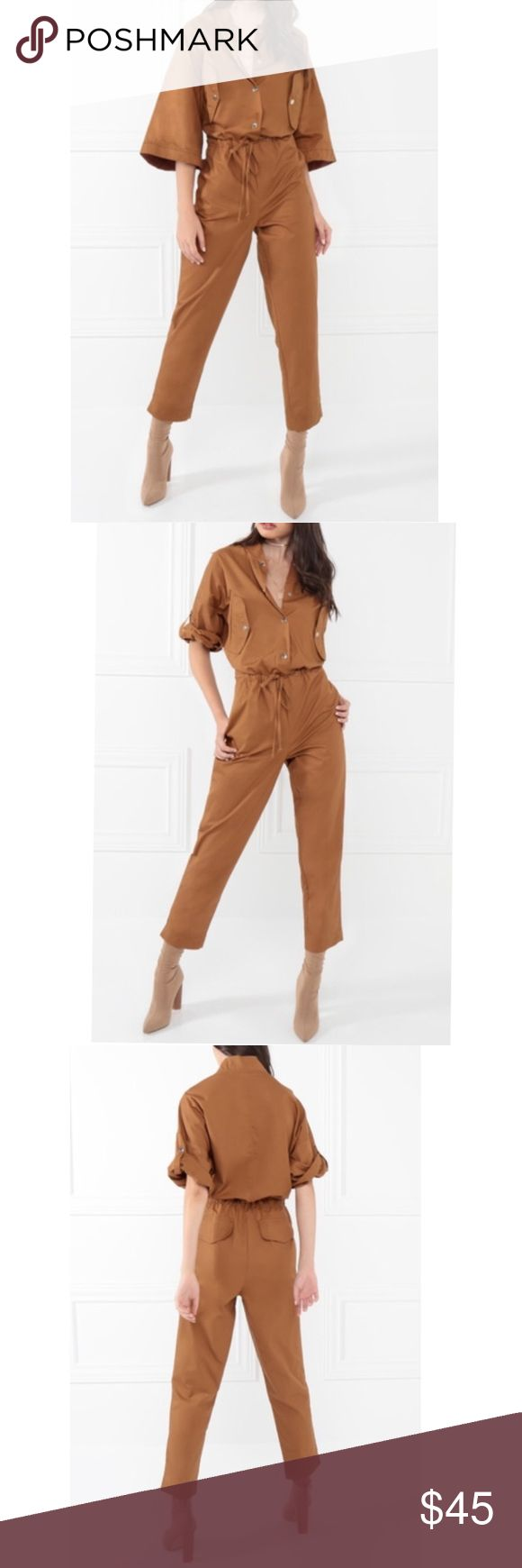 """⭐️New⭐️Just Kickin It"""" Jumpsuit in Camel ***PRICE IS FIRM****New Arrival! This posting is for the new """"Just Kickin It"""" Jumpsuit in Camel! Sizes small, med, and large available. Camel is trending this Fall season and this jumpsuit would look great with a pair of heels! Model Is 5'9 And Is Wearing A Small.                           100% Cotton, Front Pocket construction, and synched tie waist.   Measurements For A Small: Bust: Approx. 44"""" Sleeve Length: Approx. 17 ½"""" Waist: Approx. 38"""" Length…"""