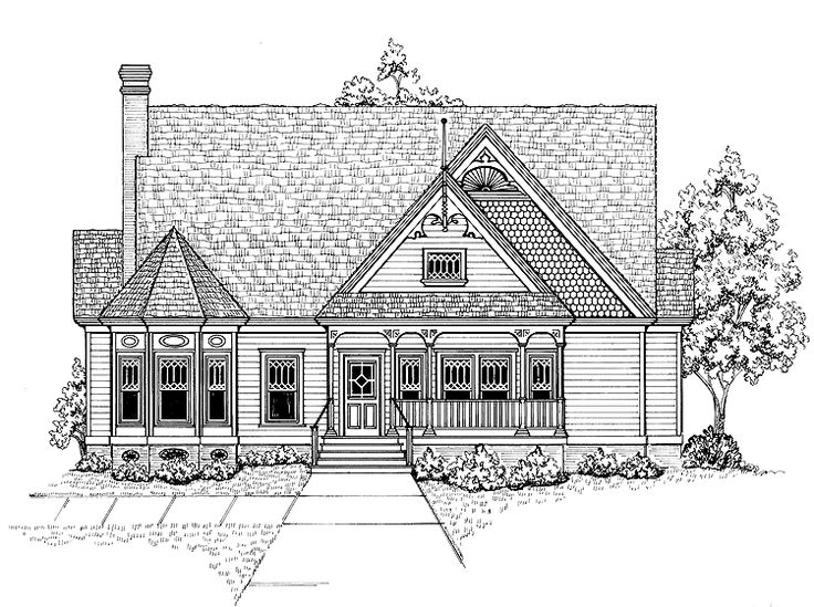 52 best vintage house plans images on pinterest for Queen anne cottage house plans