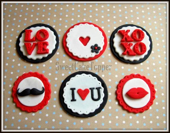 Valentine Fondant Cupcake Topper  Edible by SweetCakeTopper, $9.00