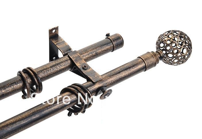 Alibaba グループ | AliExpress.comの カーテン極、 トラック & アクセサリー からの High quality 22mm(7/8inch) dia.&0.98mm thick double curtain rod with iron art finial-21 by plating antique copp 中の 高品質の 22 ミリメートル (7/8 インチ)径。 & 0.98 ミリメートル厚い二重カーテン ロッド セット で鉄巣フィニアル で アンティーク黒起毛ゴールド moq 2 メートル