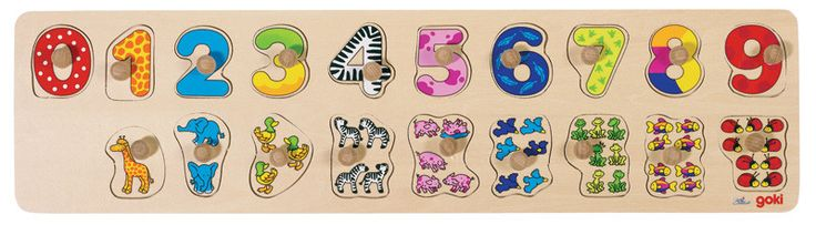 At over 50cm long, the Learn to Count peg puzzle is a great starting point to introduce numbers. For your little ones.  t consists of 10 number pieces 0-9 and below each numeral there is a second piece depicting animals equaling the number above. Each animal piece is in the same colour and design pattern as the number it portrays which makes them easier to identify and aids in colour recognition.