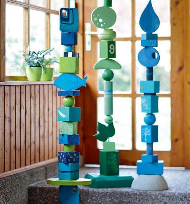 Dekorationen aus Holz für den Garten: Glückswächter - Holzmodule zum Kombinieren