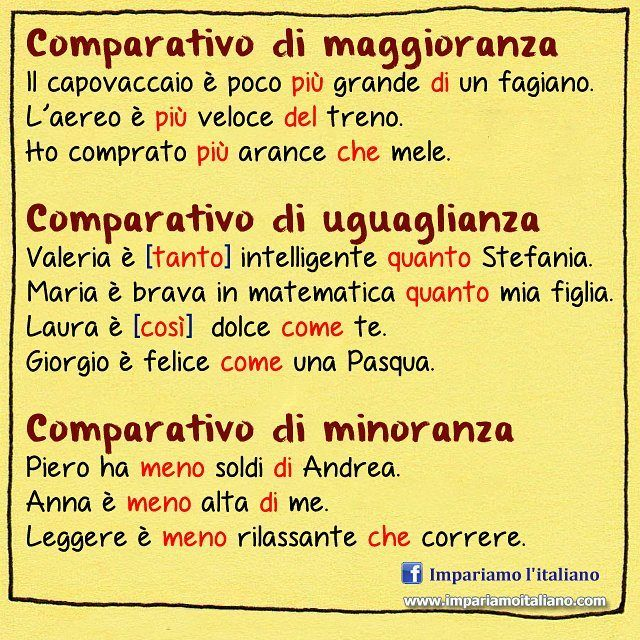 I comparativi #learnitalian with www.impariamoitaliano.com #learningitalian #studyitalian #italianlessons #italianteacher #italianlanguage #impariamoitaliano #grammartips