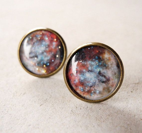 Galaxy Earring Studs    http://www.etsy.com/listing/161153276/galaxy-earring-studs-rustic-copper-beige