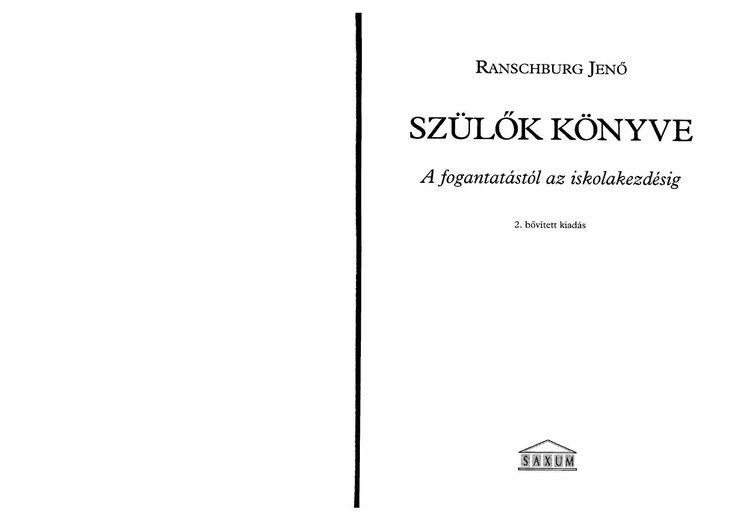 Ranschburg jenő szülők könyve pdf