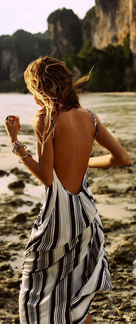 Open back stripes print long maxi dress