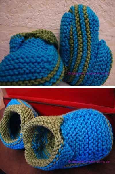 Chausson bicolore http://www.bluemarguerite.com/Loisirs-creatifs/tuto-466-chausson-bicolore-en-laine.deco