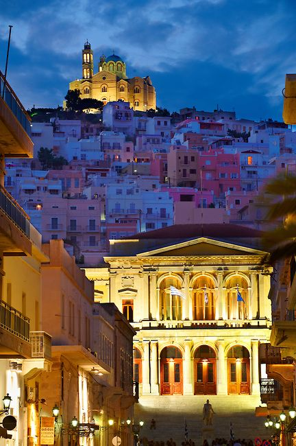 The Neo Classic City Hall of Ermoupolis, Miaoulis Square, Syros , Greek Cyclades Islands
