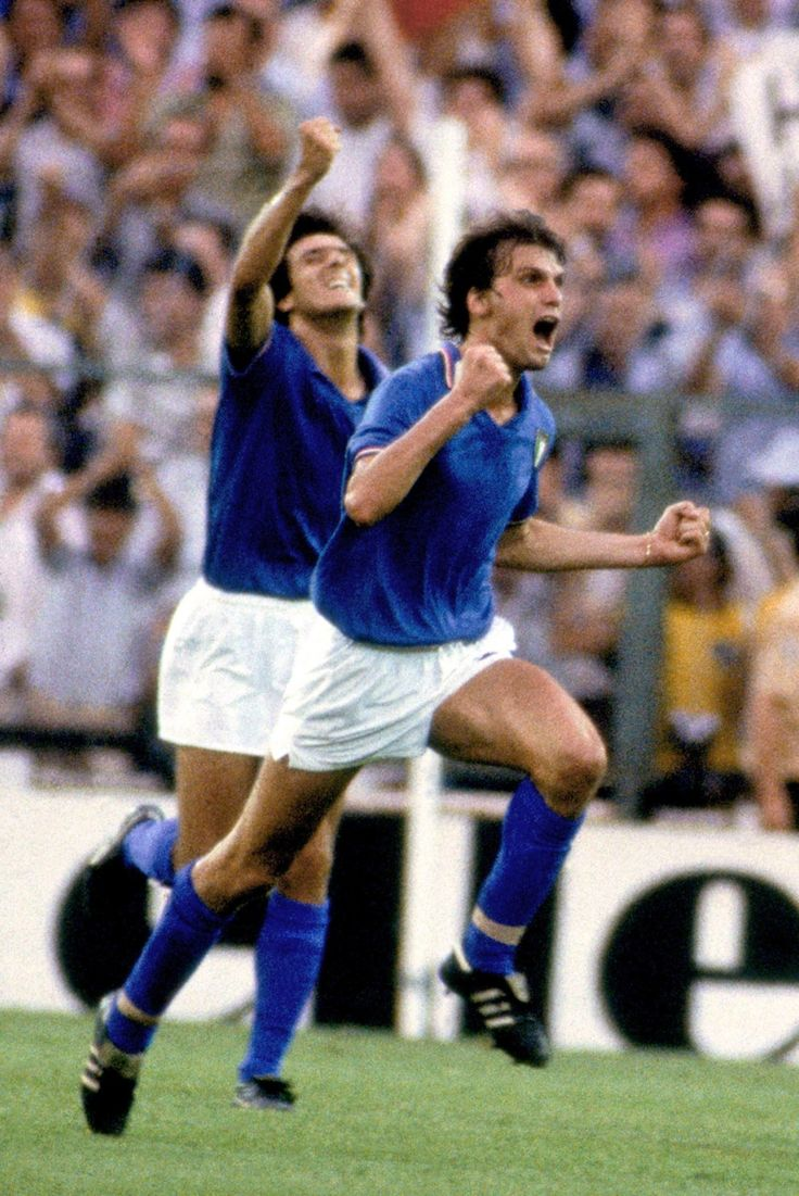 Italy's Marco Tardelli (right) celebrates scoring against West Germany in the 1982 World Cup final