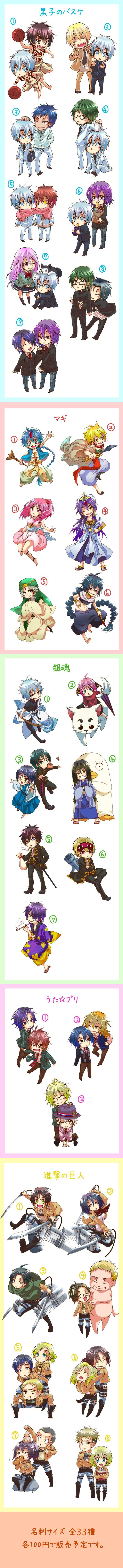 Anime 1) Kuroko no Basket, 2) Magi, 3) Gintama 4) Uta No Prince Sama, 5) Attack On Titan