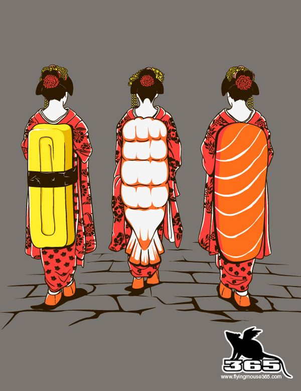 Sushi Ladies illustration by Malaysian designer Chow Hon Lam (aka flyingmouse365)