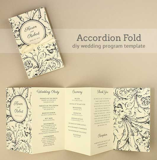DIY Accordion Wedding Program. Free template project.