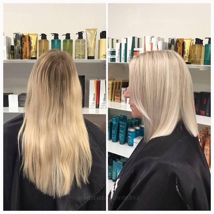 Vi klipper av håret till en lång page och slingar många täta slingor i hela håret för att få ett riktigt ljust resultat ✨ #ashblonde #page #lobhaircut