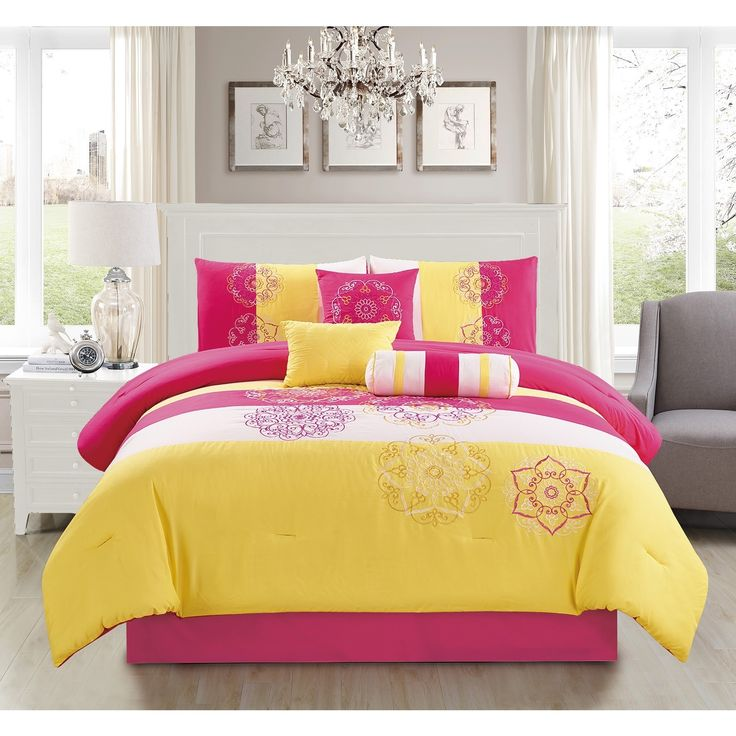 Carlotta Yellow Embroidery 7-piece Comforter Set - Free Shipping Today - Overstock.com - 18839956