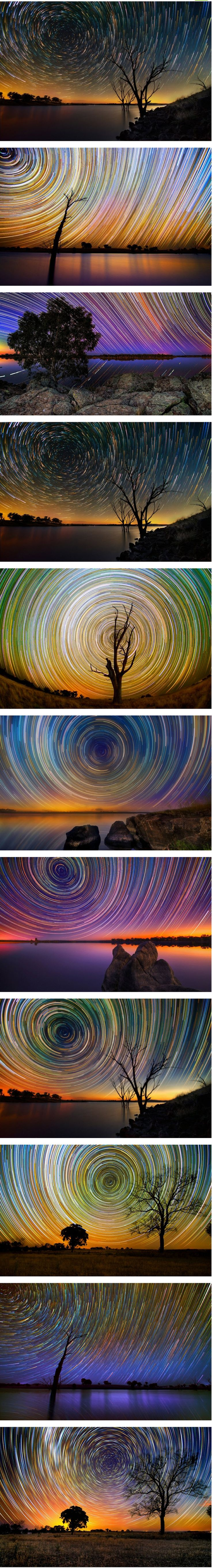 Star trail time lapse photos. Set up your camera in a safe and sturdy place and take pics every couple of minutes. Make a composite in Photoshop of Lightroom and you will have your very own star trails! Hope to take some like this once I have a tripod.