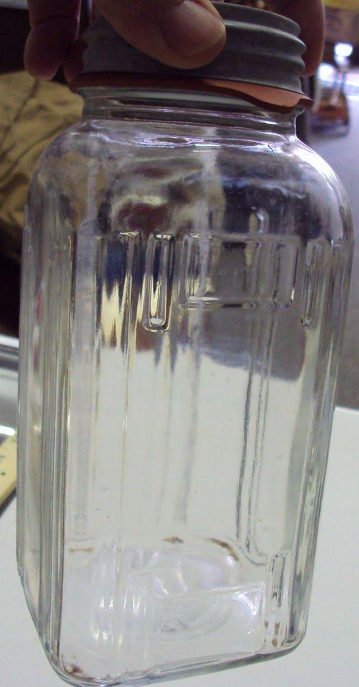 Vintage Hazel Atlas Art Deco Style Glass Jar 5414 Vertical