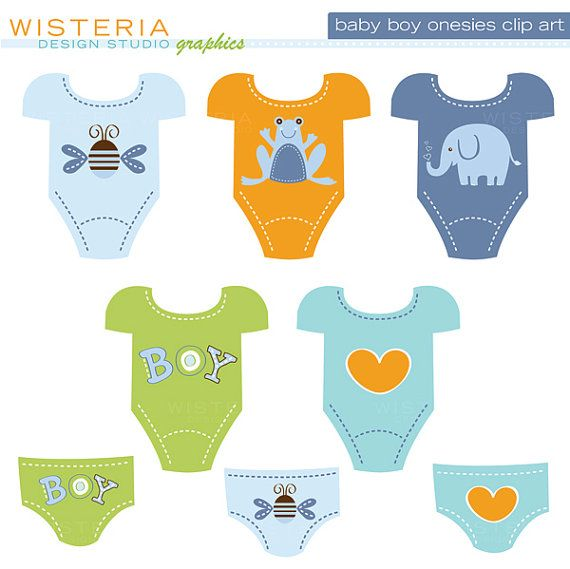 Baby Boy & Baby Girl Design Set Clip Art by WisteriaDesignStudio