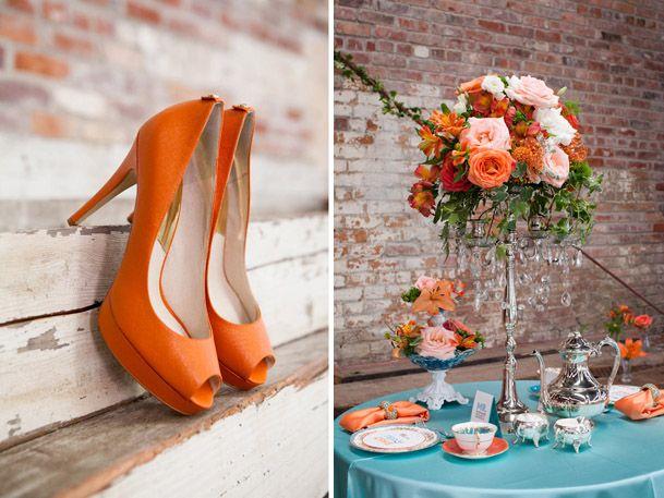 Vintage Vignettes Featured - Teal & Tangerine Inspiration on Wedding Obsession