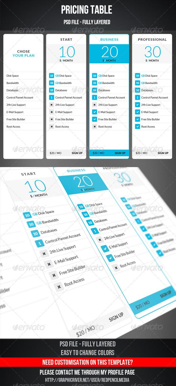 Pricing TablePricing Table This is a clean and modern pricing table