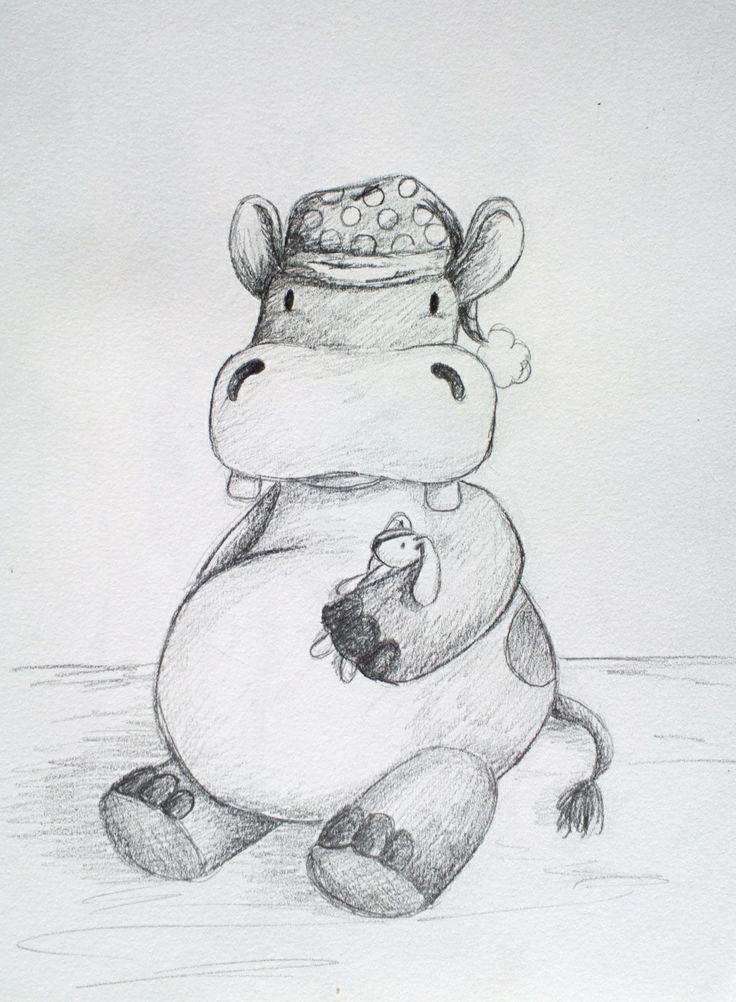 Bedtime hippo. Cute drawing. By Katja Zweiniger. hipphapphopp.com