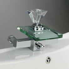 Warm/Kalt Wasser Wasserfall glas Wandmontage Badewanne Bad Füllstoff Wasserhahn Handbrause Badewanne Auslauf Chrom-finish G-088(China (Mainland))