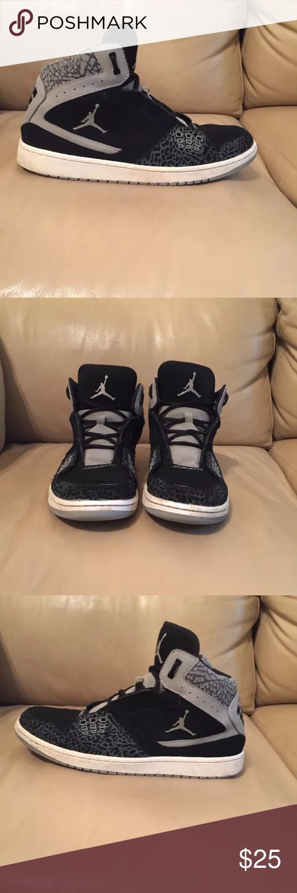 Jordan High Top Basketball Shoes 372704-055 Nike  Jordan 23  Size 12 2013 #372704-055  Black and gray  Clean inside and out  Some scuffing and dirt marks on white rubber and on soles  Minor wear to soles at heels Preowned Air Jordan Shoes Sneakers