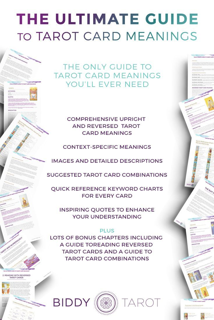 This is the only guide to Tarot card meanings you'll ever need! With the meanings of all 78 Tarot cards at your fingertips, you'll never go blank in a reading again. Order your copy of The Ultimate Guide to Tarot Card Meanings at https://www.biddytarot.co