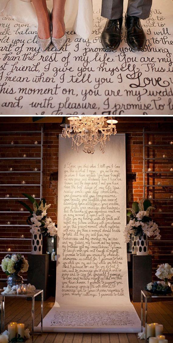 hand written ceremony backdrop or wedding aisle runner